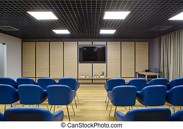 Modern conference hall - Lecture room in a coworking. There...