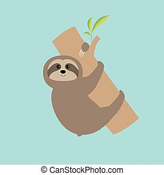 Sloth hugs tree branch Cute cartoon character Wild joungle...