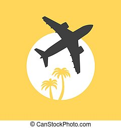 Vector illustration, jet airplane takeoff at dawn with palm trees. Travel and air transportation concept