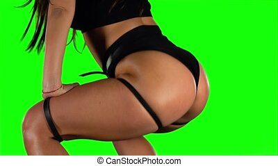 Girl sexy moving her ass dancing twerk Green Closeup - Girl...