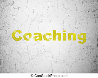 Learning concept: Coaching on wall background
