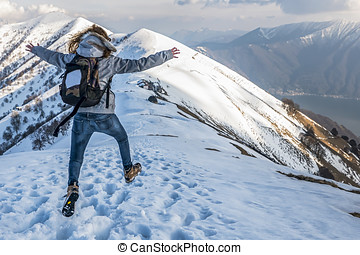Jumping in the alps