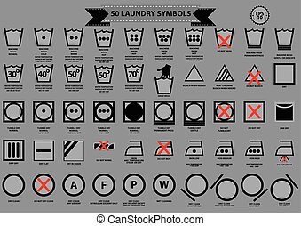 set of laundry symbols (wash, dry, dry clean, iron)...
