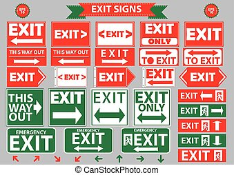 set of emergency exit signs. flat vector illustration