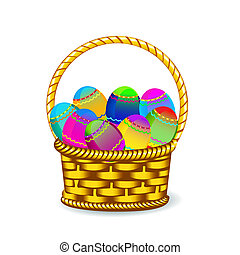 Easter eggs in basket - Vector illustration - collection of...