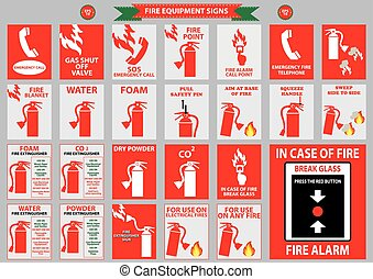 set of fire equipment signs (telephone, water, foam, co2,...