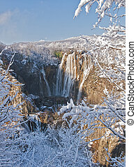 Winter waterfall - Winter view if Plitvice Lakes national...