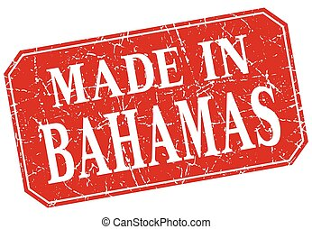 made in Bahamas red square grunge stamp