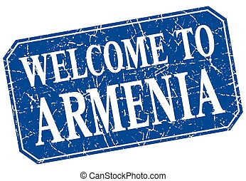 welcome to Armenia blue square grunge stamp