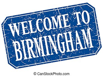 welcome to Birmingham blue square grunge stamp