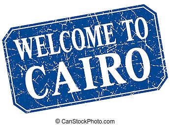 welcome to Cairo blue square grunge stamp