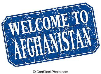welcome to Afghanistan blue square grunge stamp