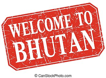 welcome to Bhutan red square grunge stamp