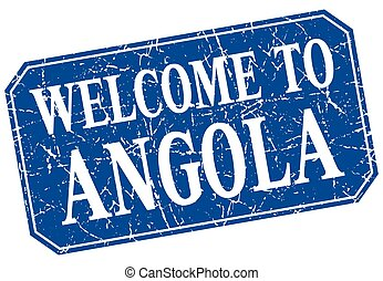 welcome to Angola blue square grunge stamp