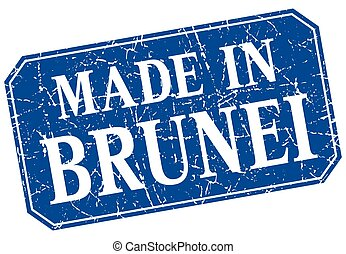 made in Brunei blue square grunge stamp