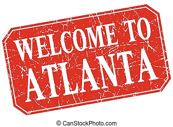 welcome to Atlanta red square grunge stamp