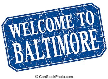 welcome to Baltimore blue square grunge stamp