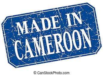 made in Cameroon blue square grunge stamp