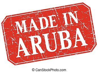 made in Aruba red square grunge stamp