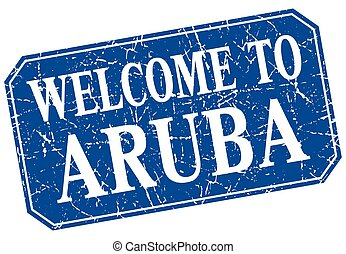 welcome to Aruba blue square grunge stamp