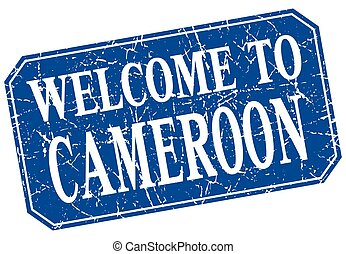 welcome to Cameroon blue square grunge stamp