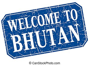 welcome to Bhutan blue square grunge stamp
