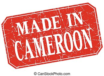made in Cameroon red square grunge stamp