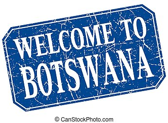 welcome to Botswana blue square grunge stamp