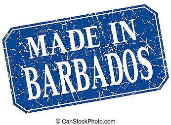 made in Barbados blue square grunge stamp