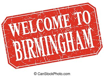 welcome to Birmingham red square grunge stamp