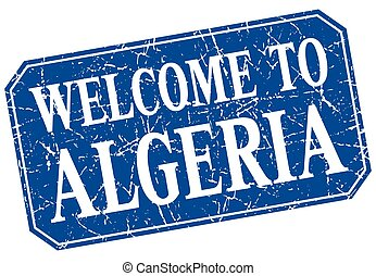 welcome to Algeria blue square grunge stamp