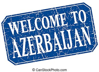 welcome to Azerbaijan blue square grunge stamp