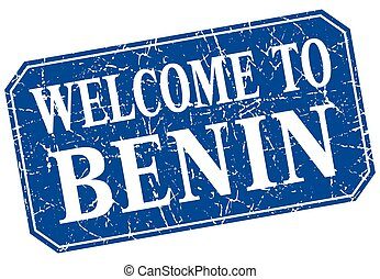 welcome to Benin blue square grunge stamp