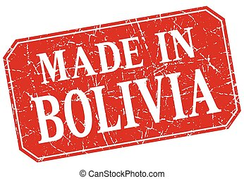 made in Bolivia red square grunge stamp