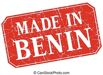made in Benin red square grunge stamp
