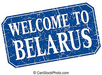 welcome to Belarus blue square grunge stamp