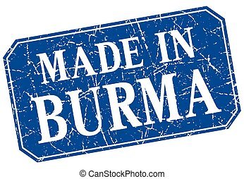 made in Burma blue square grunge stamp