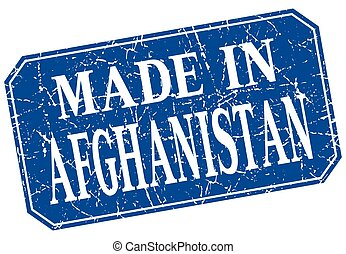 made in Afghanistan blue square grunge stamp