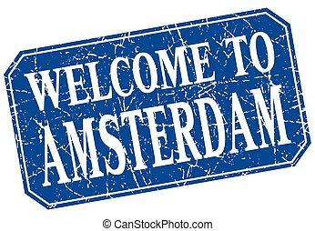 welcome to Amsterdam blue square grunge stamp