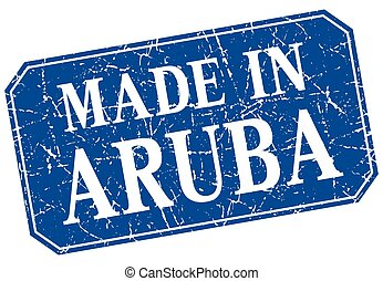 made in Aruba blue square grunge stamp