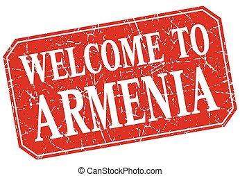 welcome to Armenia red square grunge stamp