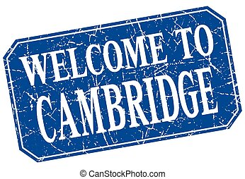 welcome to Cambridge blue square grunge stamp
