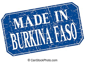 made in Burkina Faso blue square grunge stamp