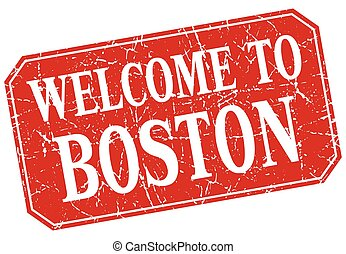 welcome to Boston red square grunge stamp