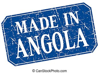 made in Angola blue square grunge stamp