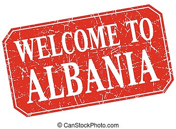 welcome to Albania red square grunge stamp