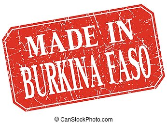 made in Burkina Faso red square grunge stamp