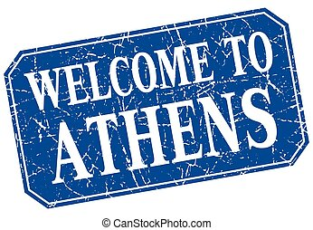 welcome to Athens blue square grunge stamp