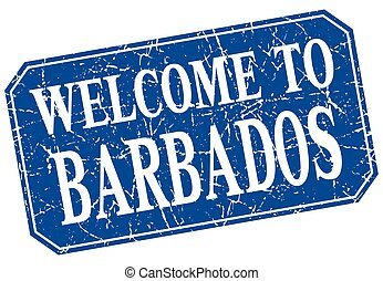 welcome to Barbados blue square grunge stamp