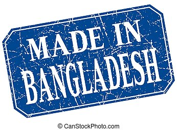 made in Bangladesh blue square grunge stamp